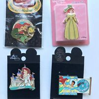 Lot of 4 Collectible Disney Little Mermaid Ariel Pins CD, Magnet, Spinner Castle