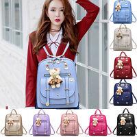 Girl Women Backpack PU Leather School Travel Rucksack Handbag iPad Shoulder Bags