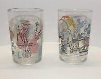Vintage Walt Disney World McDonalds 100 YEARS OF MAGIC Set of 2 Glasses Collect