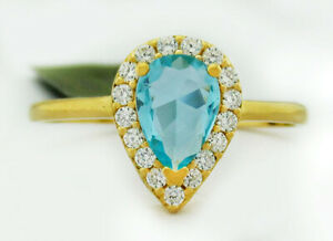 AQUAMARINE 0.75 Cts & WHITE SAPPHIRES RING .925 Silver New With Tag  size 6
