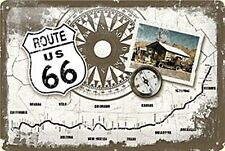 Route 66 Compass/Map embossed metal sign   300mm x 200mm (na) REDUCED