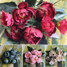 Small Artificial Peony Silk Flowers Floral Fake Home Wedding Bouquet Party Decor