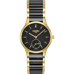 Roamer SAPHIRA Women's Swiss Quartz Watch  Black Ceramic Strap 677855 48 55 60