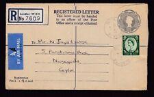 London 1965 2s2d reg tationery + Wilding 1s3d Nugegoda Ceylon .. Globe Stamp Co