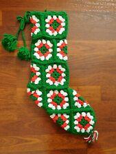 "Handmade 21"" Granny Square Christmas Stocking - Green,Red,White"