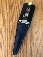 Fixed Blade Inlaid Iron Coral,Jett,Turquoise Dagger Knife Sheath Navajo D.Yazzie