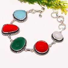 Emerald Coral Gemstone Handmade Silver Fashion Jewelry Bracelet SB1568