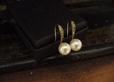 Vintage Deco Peridot Green Crystal & 8mm Pearl Drop Hook Earrings.