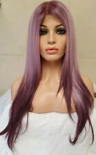 Purple pink human hair blend wig lace front full wig super soft long free part