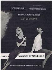 PUBLICITE ADVERTISING 114 1959 BAN-LON NYLON sweater-blouse et sweater confort