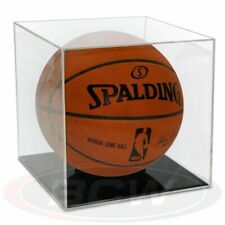 1x BallQube Basketball Holder-Grand Stand- Clear Plastic Display Case-UV
