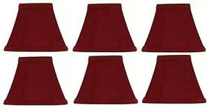 """Upgradelights~Red SILK~Empire Clip on Chandelier Lamp Shade~2.5"""" x 4"""" x 3.75"""""""