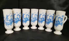 """Vintage Avon Milk Glass Handled Demi Cordial Blue """"Courting Couple"""", Set of 7"""