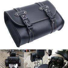 PU Leather Motorcycle Saddle Bags Saddlebags Side Storage Tool Black For Harley