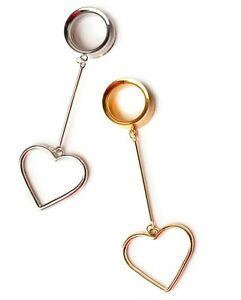 Silver & Gold Heart Steel Screw-Fit Dangle Flesh Tunnels Ear Plugs 6mm-25mm