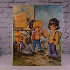 Vintage HIPPIES Big Eyes Canvas Print AUTO STOP by Alice 16 x 20 Made Spain 1972