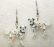 Dalmatian Dog Realistic Acrylic Double-Sided Silver Hook Earrings Jewelry