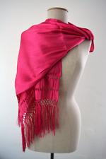 Mexican Rebozo Seda Small Bright Pink Fucshia Rosa Seda Silky Texture Shawl Wrap