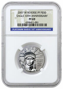 2007 W $50 1/2 oz Reverse Proof Platinum Eagle From 10th Anniv Set NGC PF69