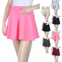 Women's Thigh Length Solid Plain Mini Skater Skirt Casual Rayon S M L