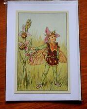 Bee Orchid Flower Fairy handmade blank card birthday greetings thank you card