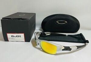 New Oakley Flak Jacket Sunglasses Silver Frame With Fire Iridium Lenses Sport