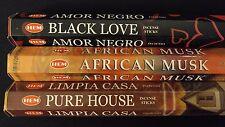 Black Love African Musk Pure House 60 HEM Incense Stick 3 Scent Sampler Gift Set