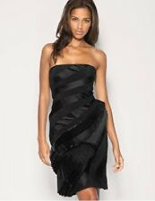 KAREN MILLEN Black Stretch Satin Dress UK 8 BNWT Bandeau Ruffle Evening DJ143