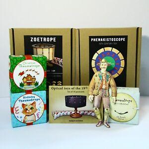 Super set of animation optical toys Zoetrope Phenakistoscope Thaumatrope Puppet