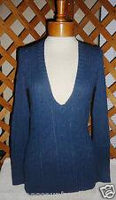 Impulse Sweater~Navy~Cable Knit~Pullover~V-Neck~Miss Size Medium~Free Ship