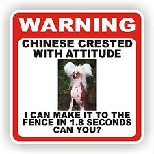 CHINESE CRESTED  DOG WARNING SIGN  FENCE 12 X 12 POLY