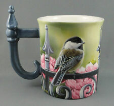 Coffee Mug Wild Wings Backyard Beauty Chickadee Bird Fence Handle 16oz Millette