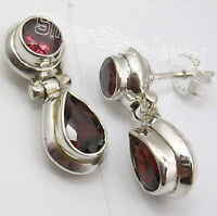 """925 Sterling Silver Authentic GARNET GIRLS' Stud Earrings 0.8"""" MADE IN INDIA"""