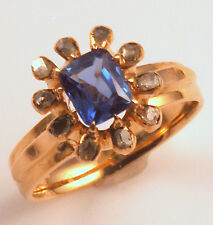 Vintage!  14k Ceylon Sapphire Ring w/Table-cut Diamonds