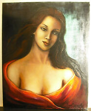 Portrait de Jeune-femme huile sur toile sig Simone VAN DORMAEL young woman paint
