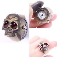 Pretty Fashion Lady Girl Man Steel Skull Elastic Quartz Finger Ring Watch SS CA