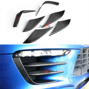 Front Fog Light Bezel Lip Trim For Porsche Macan 2014+ Real Carbon Fiber 6pcs