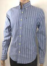 ABERCROMBIE Sz S Men's Muscle Shirt Blue Striped 100% Cotton Long Sleeve