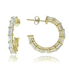 Gold Tone over Sterling Silver Baguette Cubic Zirconia Half Hoop Earrings