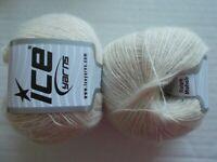Ice Yarns Ralph Mohair wool blend lace yarn, cream, lot of 2 (380 yds ea)