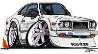 RX-3 White Cartoon T-shirt wankel mazda rx3 sp rotary available in sizes S-3XL