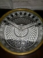 Vintage Three Section Relish Dish Crystal with Silver Plate Rim