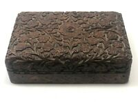 Antique Wooden Box Hand Carved Wood Art Vintage Small Jewelry Storage Chest Lid