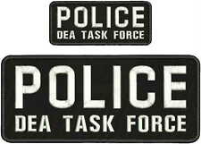 POLICE DEA TASK FORCE EMBRIDERY PATCH 4X10 AND 2X5  hook on back black/whitw