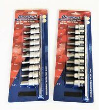 2 DURALAST 10pc 3/8 DRIVE HEX ALLEN TORX TORQUE BIT SOCKET SET SAE METRIC 70-062