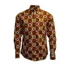 New mens Run & Fly retro vintage style 60s/70s mustard red yellow pattern shirt