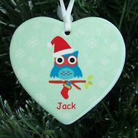 Christmas Owl Ceramic Heart - Personalised Christmas Tree Decoration
