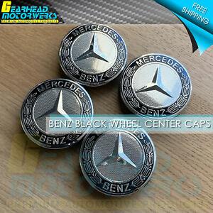 4pcs Mercedes Benz Black Wheel Center Hub Caps Emblem 75MM AMG Laurel Wreath