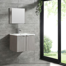"Wall-mount 24"" Bathroom Vanity Wood Cabinet w/ Ceramic Basin Sink & Mirror Combo"