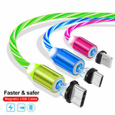 LED flowing Light Up Magnetic Fast Charger Cable For Type-C Micro-USB iPhone NEW